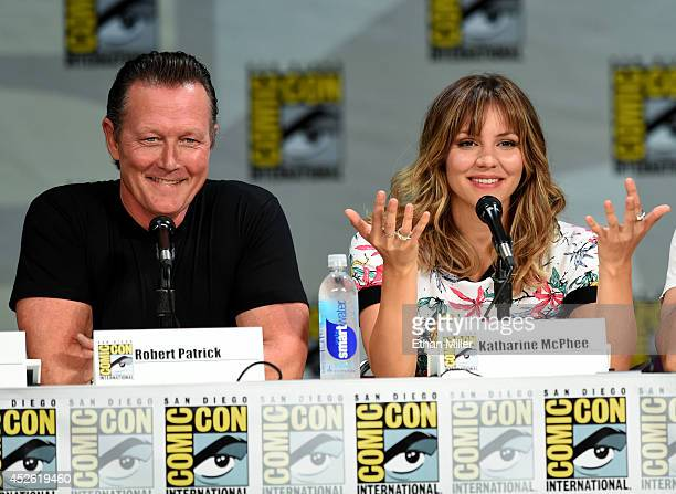 """Actor Robert Patrick and actress/singer Katharine McPhee attend CBS' """"Scorpion"""" exclusive premiere screening & panel during Comic-Con International..."""