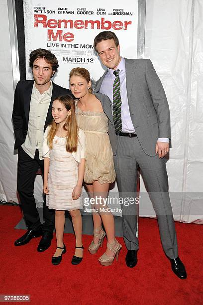 Actor Robert Pattinson actress Ruby Jerins actress Emilie de Ravin and writer Will Fetters attend the premiere of Remember Me at the Paris Theatre on...