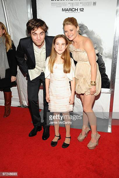 Actor Robert Pattinson actress Ruby Jerins and actress Emilie de Ravin attend the premiere of Remember Me at the Paris Theatre on March 1 2010 in New...