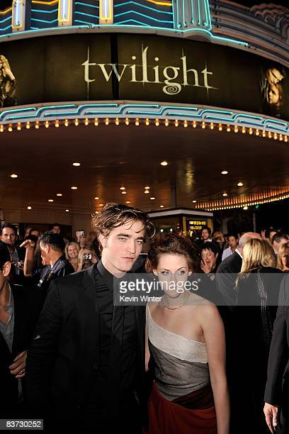 Actor Robert Pattinson and actress Kristen Stewart arrive at the film premiere of Summit Entertainment's Twilight held at the Mann Village and Bruin...