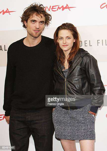 Actor Robert Pattinson and Kristen Stewart attends the 'Twilight' Photocall during the 3rd Rome International Film Festival held at the Auditorium...