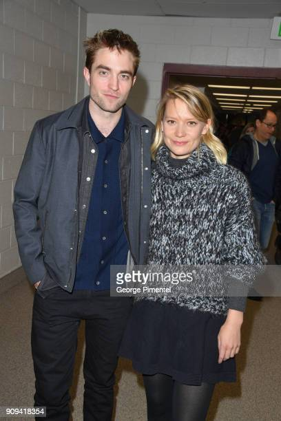 Actor Robert Pattinson and Mia Wasikowska attend the 'Damsel' Premiere during the 2018 Sundance Film Festival at Eccles Center Theatre on January 23...