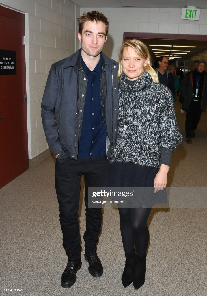 Actor Robert Pattinson (L) and Mia Wasikowska attend the 'Damsel' Premiere during the 2018 Sundance Film Festival at Eccles Center Theatre on January 23, 2018 in Park City, Utah.