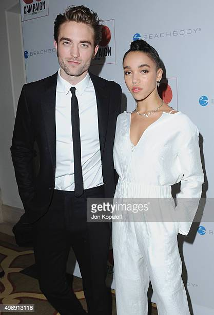 Actor Robert Pattinson and singer FKA twigs arrive at the 8th Annual GO Campaign Gala at Montage Beverly Hills on November 12 2015 in Beverly Hills...