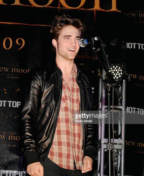 Actor Robert Pattinson appears onstage at Summit's The Twilight Saga New Moon Cast Tour at Hollywood and Highland on November 6 2009 in Los Angeles...