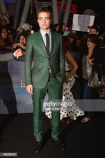 Actor Robert Pattinson arrives at The Twilight Saga Breaking Dawn Part 2 Los Angeles premiere at the Nokia Theatre LA Live on November 12 2012 in Los...