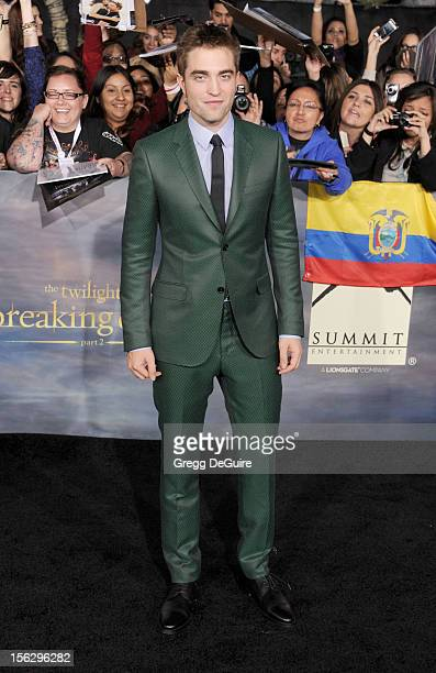 Actor Robert Pattinson arrives at 'The Twilight Saga Breaking Dawn Part 2' Los Angeles premiere at Nokia Theatre LA Live on November 12 2012 in Los...