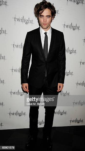 Actor Robert Pattinson arrives at the UK film premiere of 'Twilight' at the Vue Cinema West End on December 3 2008 in London England