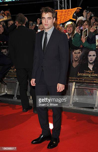 Actor Robert Pattinson attends the UK Premiere of 'The Twilight Saga Breaking Dawn Part 2' at Odeon Leicester Square on November 14 2012 in London...
