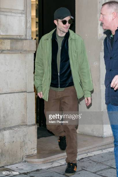 Actor Robert Pattinson leaves the 'Dior' store on Rue Francois Premier on January 19 2018 in Paris France