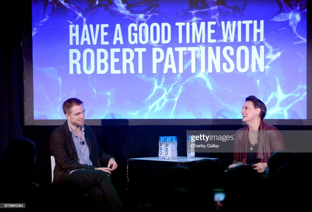Actor Robert Pattinson (L) speaks onstage with journalist Stacy Wilson Hunt during the 'Have a Good Time with Robert Pattinson' event, part of Vulture Festival LA Presented by AT&T at Hollywood Roosevelt Hotel on November 18, 2017 in Hollywood, California.