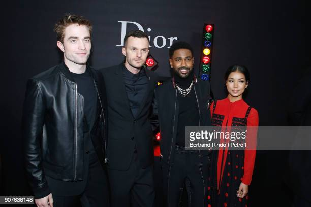 Actor Robert Pattinson Stylist of Dior Men Kris Van Assche Big Sean and Jhene Aiko pose after the Dior Homme Menswear Fall/Winter 20182019 show as...