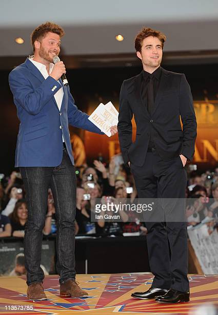 Actor Robert Pattinson with host Rick Edwards as he attends the 'Water for Elephants' UK film premiere at the Vue Westfield on May 3 2011 in London...