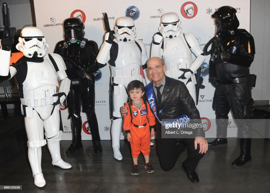 Actor Robert Picardo poses with Storm Troopers at Yuri's Night L.A. held on April 8, 2017 in Los Angeles, California.