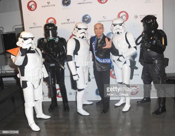 Actor Robert Picardo poses with Storm Troopers at Yuri's Night LA held on April 8 2017 in Los Angeles California