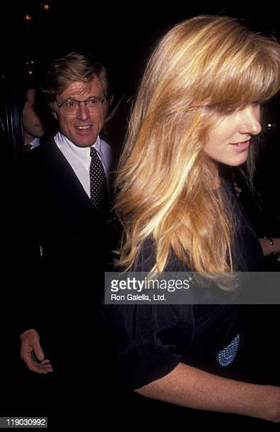Actor Robert Redford and daughter Shauna Redford attend the premiere of A River Runs Through It on October 8 1992 at the Ziegfeld Theater in New York...