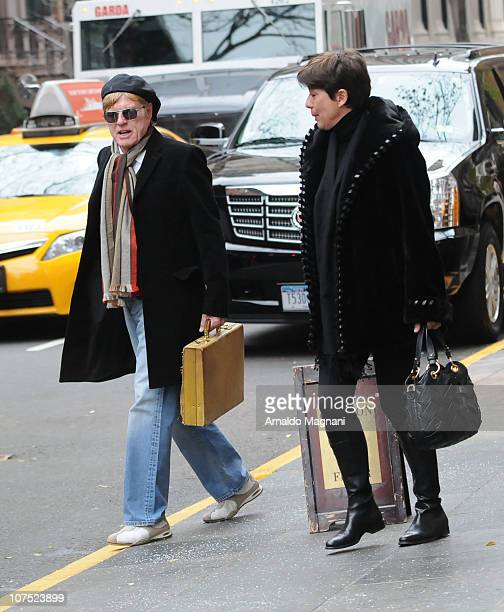 Actor Robert Redford and his wife Lola Redford are seen December 10, 2010 in New York City.