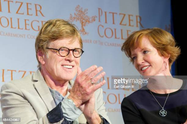 Actor Robert Redford and Laura Skandera Trombley attend the announcement for Fossil Fuel DivestmentClimate Action Model at Los Angeles Press Club on...