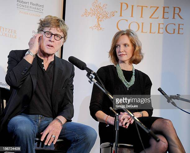 Actor Robert Redford and Pitzer College President Laura Skandera Trombley attend the naming of Pitzer College's new Conservancy at the Los Angeles...
