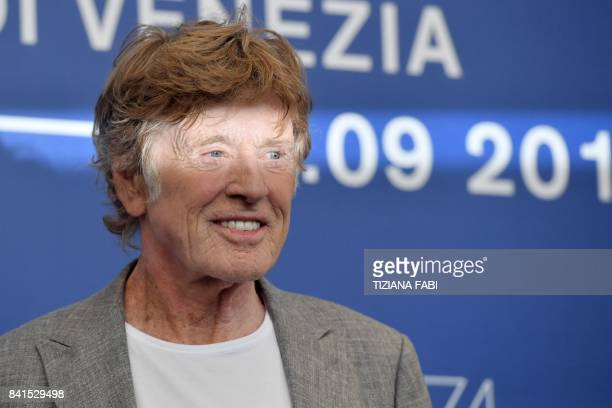 US actor Robert Redford attends a photocall during the 74th Venice Film Festival on September 1 2017 at Venice Lido Jane Fonda and Robert Redford...