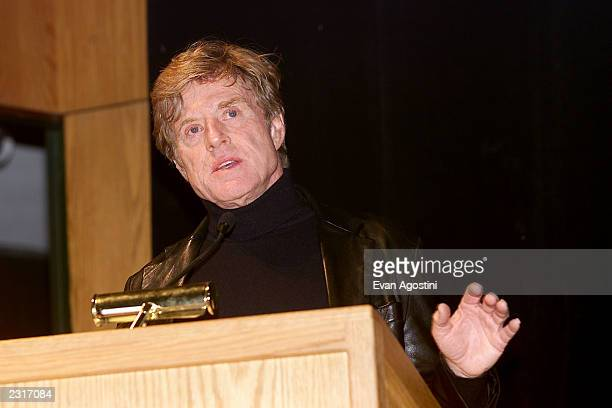 Actor Robert Redford gives opening remarks before the opening night screening of HBO's The Laramie Project to kickoff the 2002 Sundance Film Festival...