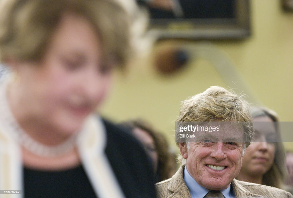 Actor Robert Redford listens as Rep. Louise Slaughter, D-N.Y., testifies as a witness during the House Appropriations Committee Interior, Environment, and Related Agencies Subcommittee hearing on 'Funding for the Arts' on Tuesday, April 1, 2008.