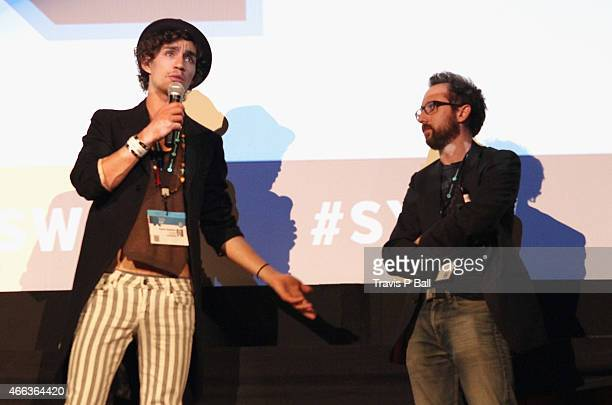 """Actor Robert Sheehan and writer Dean speak onstage at the premiere of """"Moonwalkers"""" during the 2015 SXSW Music, Film + Interactive Festival at Alamo..."""