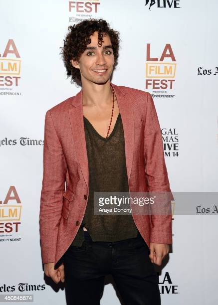 Actor Robert Sheehan attends the premiere of The Road Within during the 2014 Los Angeles Film Festival at Regal Cinemas LA Live on June 18 2014 in...