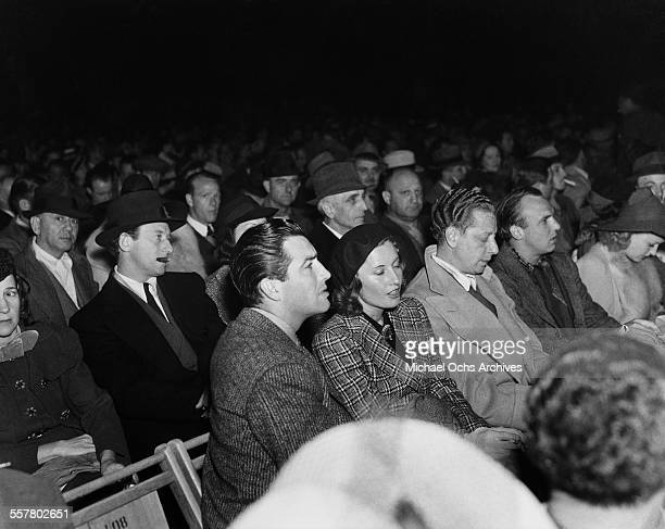 Actor Robert Taylor and his wife actress Barbara Stanwyck attend an event in Los Angeles California