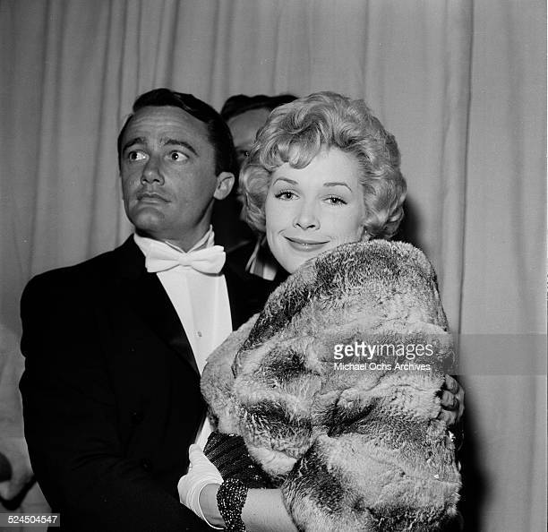 Actor Robert Vaughn attends an event with actress Joyce Jameson in Los AngelesCA