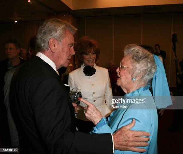 Actor Robert Wagner talks with actresses Ann Rutherford and Jill St. John at A Centennial Tribute to Jimmy Stewart at The Academy of Motion Picture...
