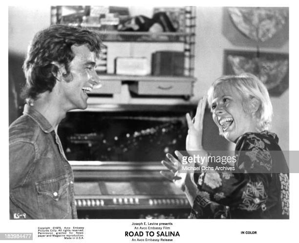 Actor Robert Walker Jr and actress Mimsy Farmer on set of the movie Road to Salina in 1970