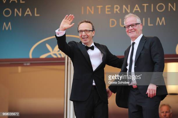 Actor Roberto Benigni and director of the festival Thierry Frémaux attend the screening of Happy As Lazzaro during the 71st annual Cannes Film...