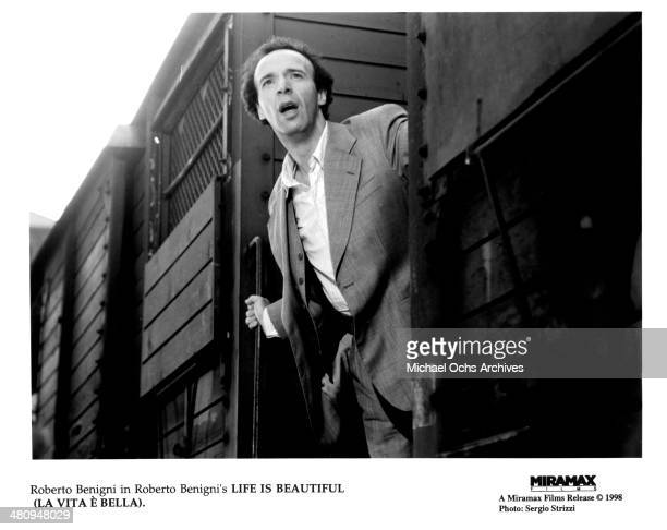 Actor Roberto Benigni in a scene from the Miramax movie Life Is Beautiful circa 1997