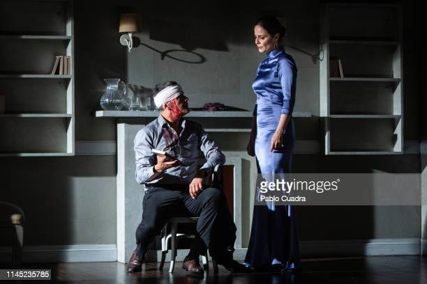 Actor Roberto Enriquez and actress Aitana SanchezGijon perform on stage La Vuelta De Nora Casa De Muñecas 2 at Bellas Artes Theatre on April 26 2019...