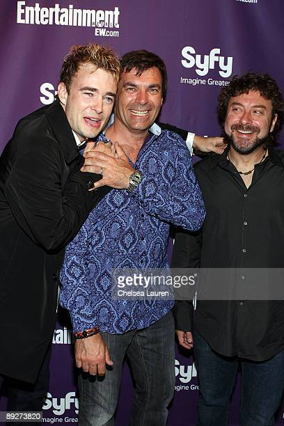 Actor Robin Dunne, director Martin Wood, and writer Damian Kindler attend the Entertainment Weekly and Syfy party celebrating Comic-Con at Hotel...