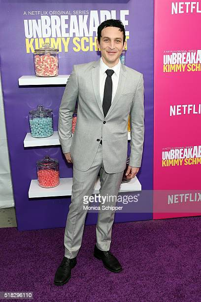 Actor Robin Lord Taylor attends the 'Unbreakable Kimmy Schmidt' season 2 world premiere at SVA Theatre on March 30 2016 in New York City
