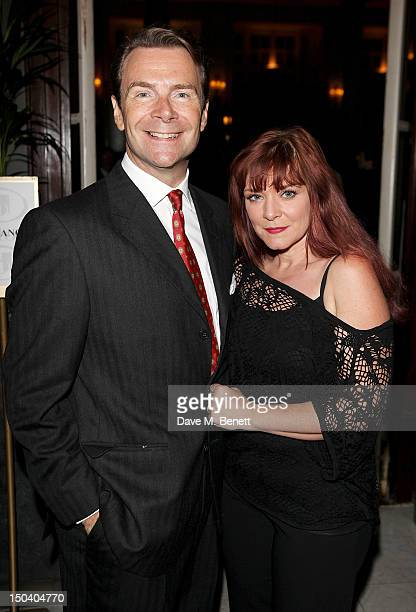 Actor Robin Sebastian and Finty Williams attend an after party celebrating the Press Night performance of 'Volcano' at The Waldorf Hilton Hotel on...