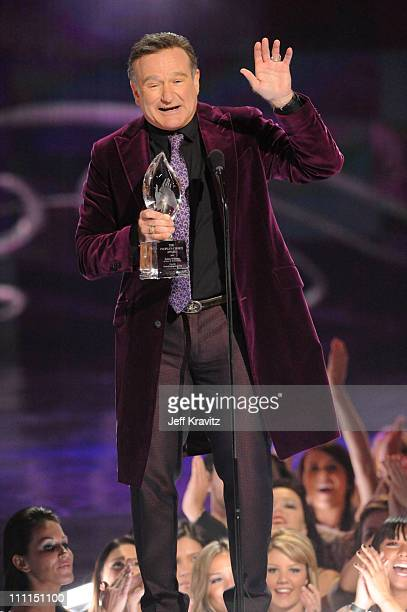 Actor Robin Williams accepts the Favorite Scene Stealing Guest Star Award at the 35th Annual People's Choice Awards held at the Shrine Auditorium on...