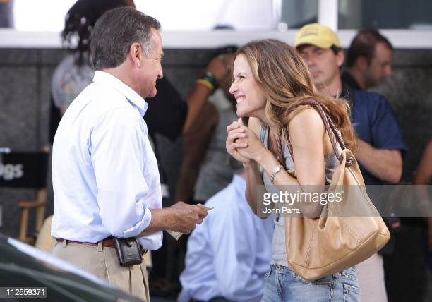 Actor Robin Williams and Actress Kelly Preston on the set of 'Old Dogs' on September 7 2007 in New York City New York