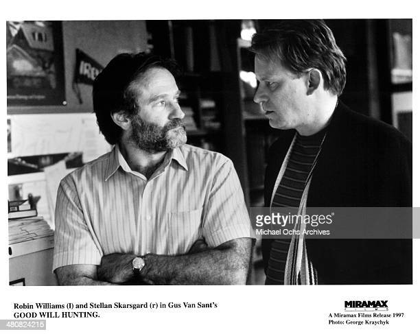 CIRCA 1997 Actor Robin Williams and director Gus Van Sant on the set of the Miramax movie Good Will Hunting circa 1997