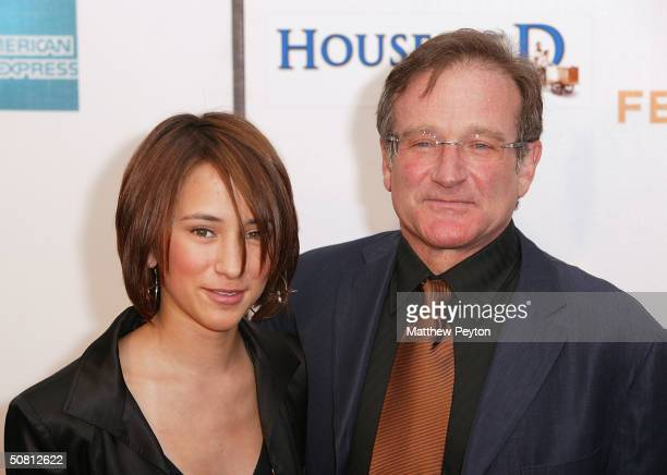 Actor Robin Williams and his daughter Zelda Williams arrive at the screening of 'House Of D' during the 2004 Tribeca Film Festival May 7 2004 in New...