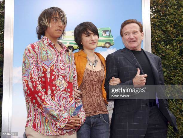 Actor Robin Williams and his son Cody and daughter Zalda pose at the premiere of Columbia Picture's 'RV' at the Village Theater on April 23 2006 in...
