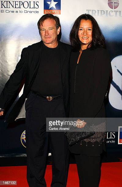 "Actor Robin Williams and his wife, Marsha Garces Williams, attend the Spanish premiere of his new movie ""Insomnia"" at Kinepolis Cinema October 9,..."