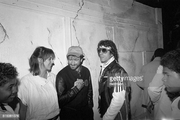 Actor Robin Williams and his wife Valerie talk with Chuck Zito Vice President of the New York chapter of Hell's Angels Motorcycle Club early 10/6 at...