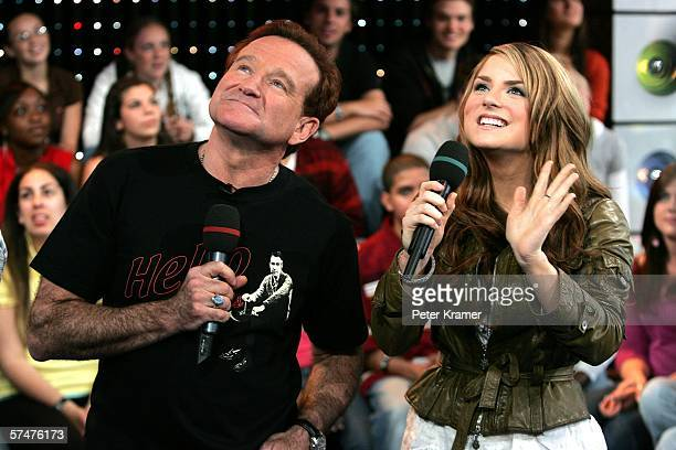Actor Robin Williams and singer JoJo appear onstage during MTV's Total Request Live at the MTV Times Square Studios on April 27 2006 in New York City