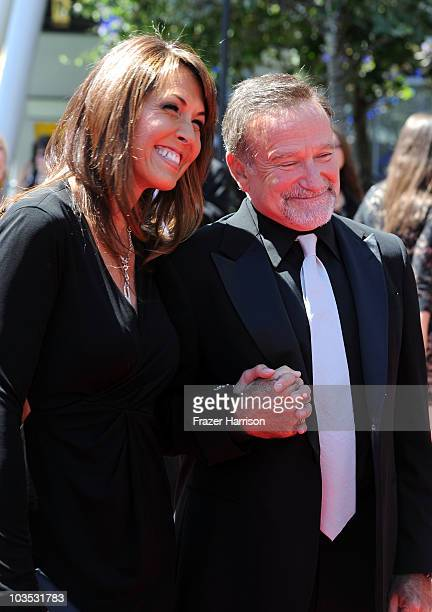Actor Robin Williams and Susan Schneider arrive at 62nd Primetime Creative Arts Emmy Awards at the Nokia Theatre L.A. Live on August 21, 2010 in Los...