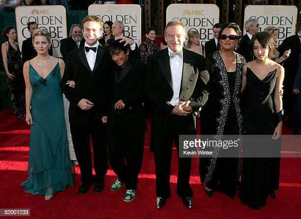 Actor Robin Williams and wife Marsha Garces Williams sons Cody Zachary with girlfriend Alex daughter Zelda arrive at the 62nd Annual Golden Globe...