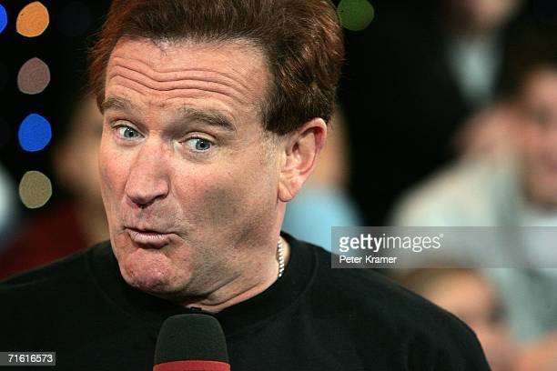 Actor Robin Williams appears onstage during MTV's Total Request Live at the MTV Times Square Studios on April 27, 2006 in New York City. It was...