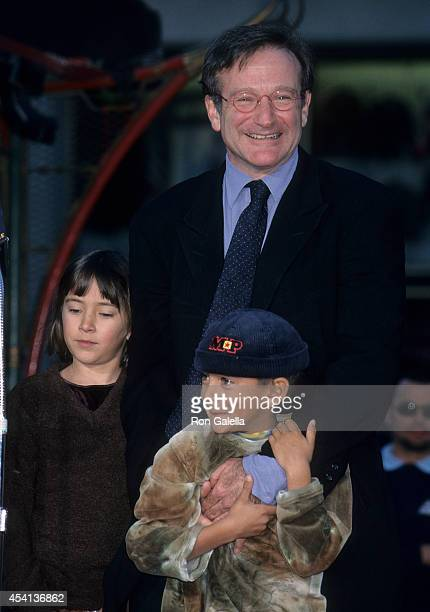 Actor Robin Williams daughter Zelda and son Cody attend Robin Williams hand and footprints in cement ceremony on December 22 1998 at the Mann's...